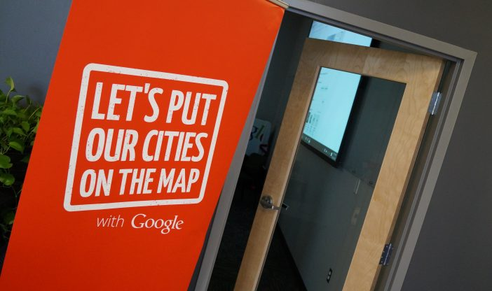 Make business searchableBanner outside Google My Business Workshop saying Let's Put Our Cities on the Map